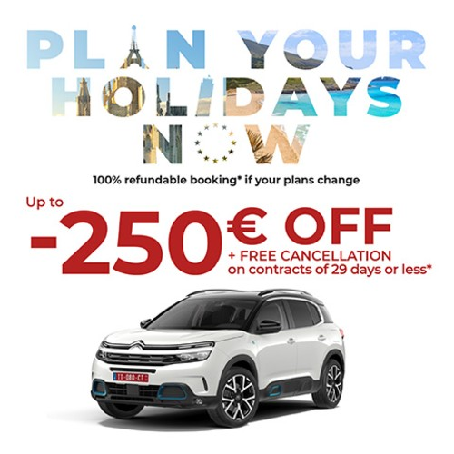 UNTIL 250 € OFF AND 100% DISCOUNT ON DELIVERY AND RESTITUTION COSTS