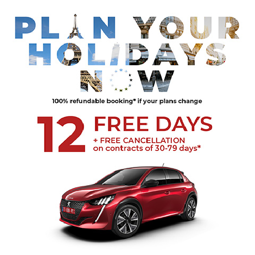 12 Free Days and 100% discount on delivery and restitution costs